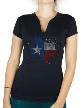 Texas éclaté - T-shirt femme Col V