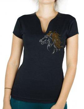 Cheval ébouriffé - T-shirt femme Col V