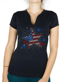Stars USA woman v-neck t-shirt