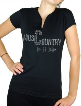 Country Music play - T-shirt femme Col V