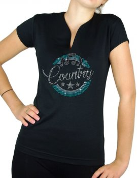 Macaron Country Turquoise - T-shirt femme Col V