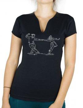 Danseurs Lindy Hop - T-shirt femme Col V