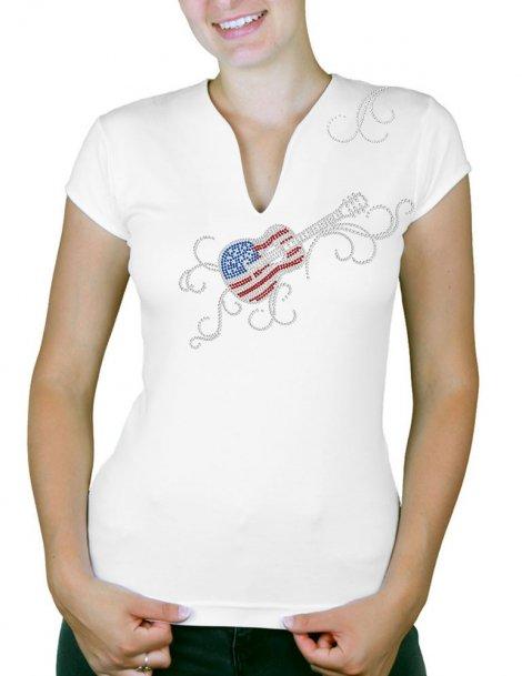 guitare usa arabesque - T-shirt femme Col V