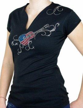 Guitare USA arabesques - T-shirt femme Col V