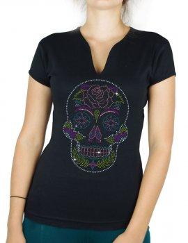 Crâne Mexicain Floral - T-shirt femme Col V