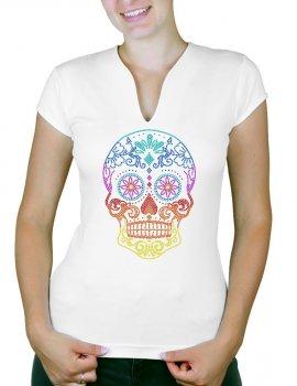Tête de Mort Mexicaine Multicolore - T-shirt femme Col V