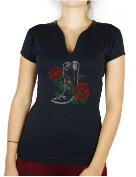 Botte et Roses - T-shirt femme Col V