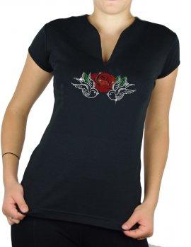Hirondelles & Rose- T-shirt femme Col V