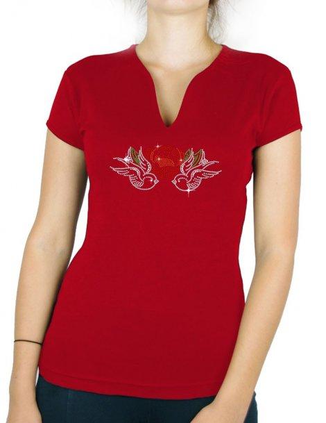 Hirondelles Roses - T-shirt femme Col V