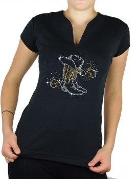 Bottes & arabesques - T-shirt femme Col V
