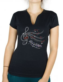 Clé de Sol Rock'n Bougie - T-shirt femme Col V