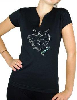 Coeur Arabesque Country - T-shirt femme Col V