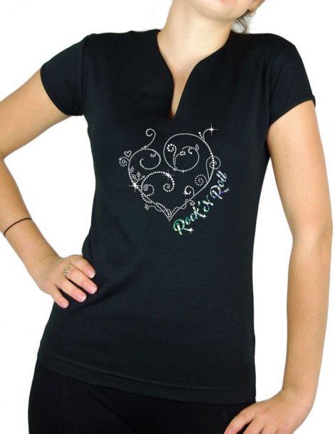Coeurs Arabesque Rock'n Roll- T-shirt femme Col V