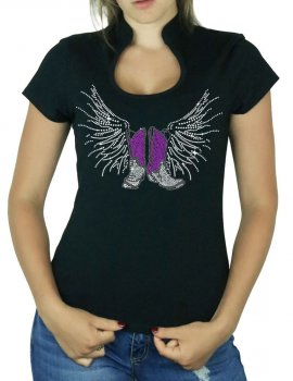 Bottes Ailées - T-shirt femme Col Omega