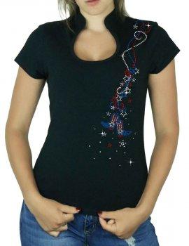 Guirlande USA - T-shirt femme Col Omega