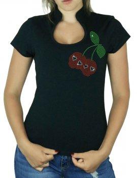 Cerises Tête de mort - T-shirt femme Col Omega