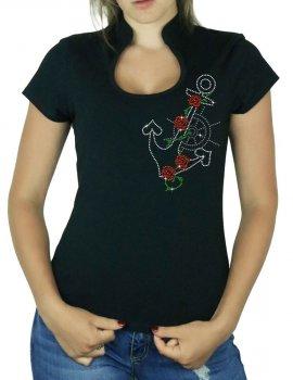 Ancre Marine Rock - T-shirt femme Col Omega