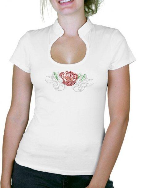 Hirondelles & Rose - T-shirt femme Col Omega