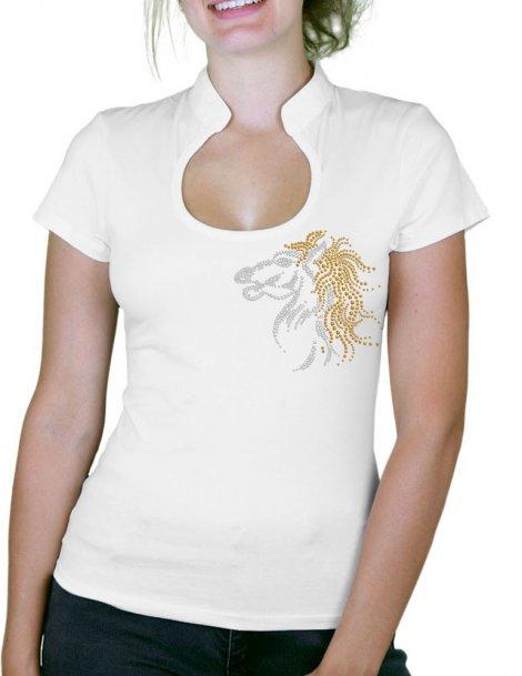 Cheval ébouriffé - T-shirt femme Col Omega
