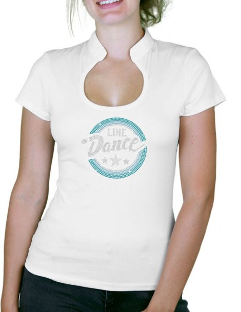 Macaron Line Dance Turquoise - T-shirt femme Col Omega