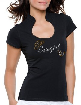 Cowgirl Hat & Boot - T-shirt femme Col Omega