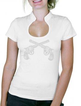 Pistolet Strass - T-shirt femme Col Omega