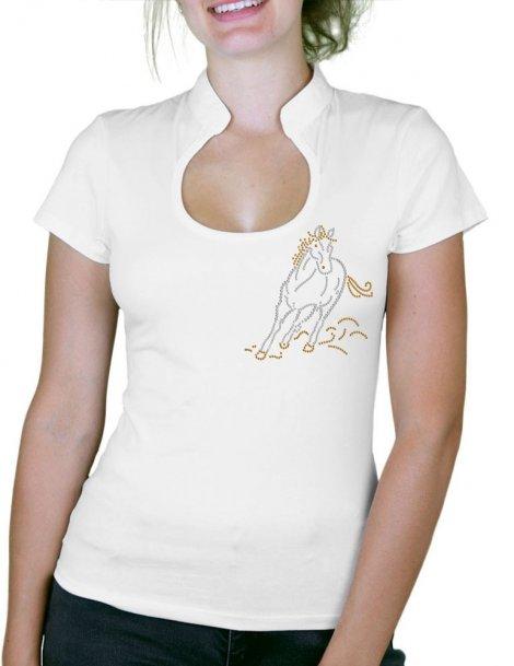 Cheval au Galop - T-shirt femme Col Omega