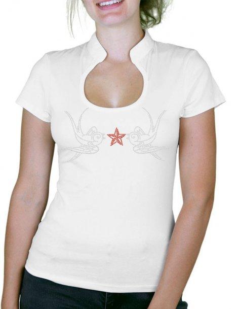 Hirondelles rock'n roll - T-shirt femme Col Omega
