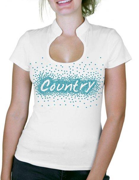 Country éclaté - T-shirt femme Col Omega