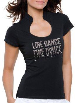 Line Dance Miroir - T-shirt femme Col Omega
