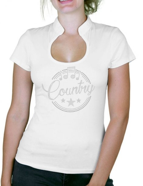 Macaron Country Epuré - T-shirt femme Col Omega