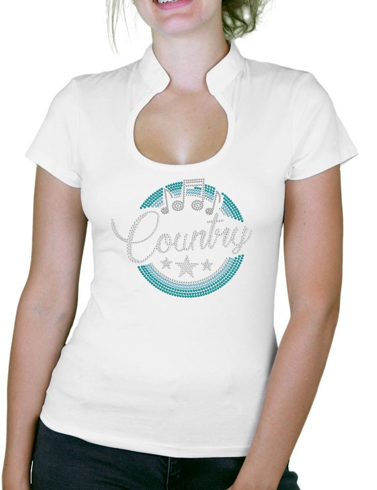 Macaron Country Turquoise- T-shirt femme Col Omega - GRAPHI-TEE d74840c97e04