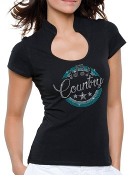 Macaron Country Turquoise- T-shirt femme Col Omega