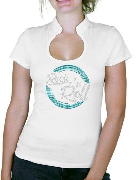 Macaron Rock'n Roll - T-shirt femme Col Omega