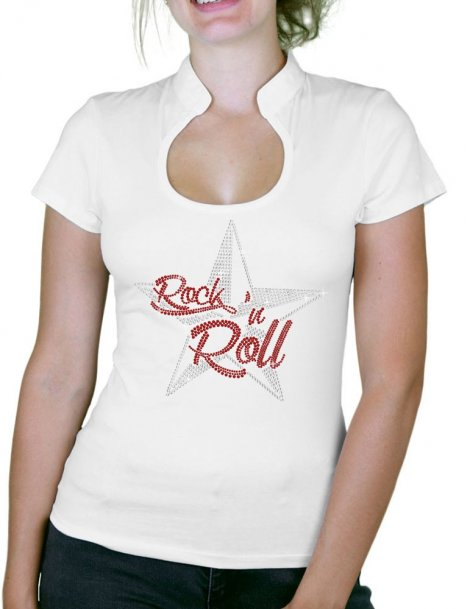 Etoile Nautique Rock'n Roll - T-shirt femme Col Omega