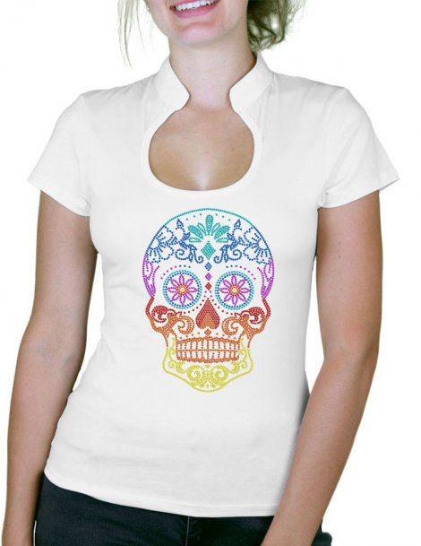 Tête de Mort Mexicaine Multicolore - T-shirt femme Col Omega