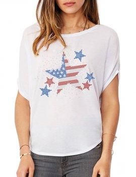 Etoile USA - T-shirt femme Manches Chauve Souris
