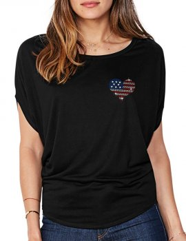 Petit Coeur USA - T-shirt femme Manches Chauve Souris