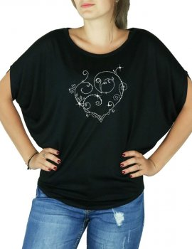 Coeur Arabesques - T-shirt femme Manches Chauve Souris