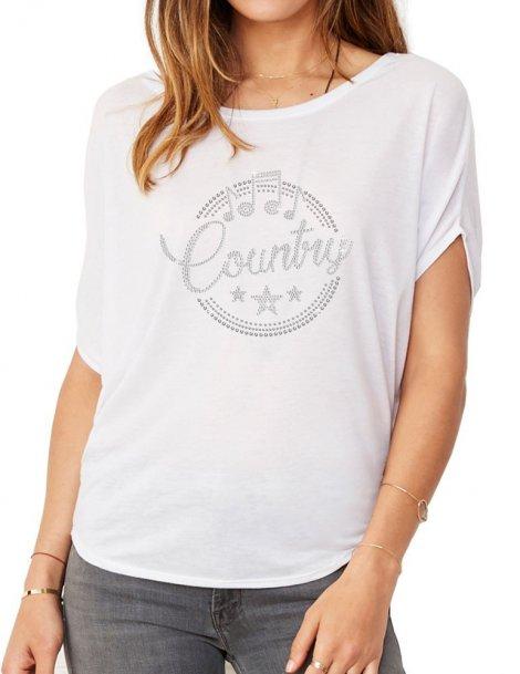 Macaron Country épuré - T-shirt femme Manches Chauve Souris