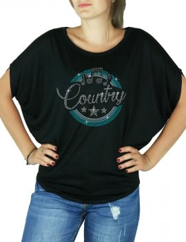 Macaron Country Turquoise - T-shirt femme Manches Chauve Souris