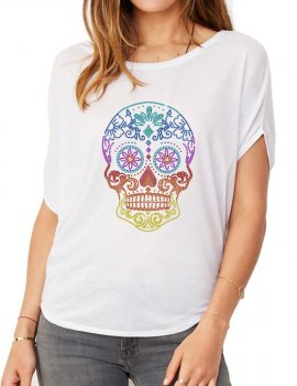 Tête de Mort Mexicaine - T-shirt femme Manches Chauve Souris