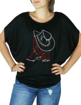 Santiags & Chapeau - T-shirt femme Manches Chauve Souris