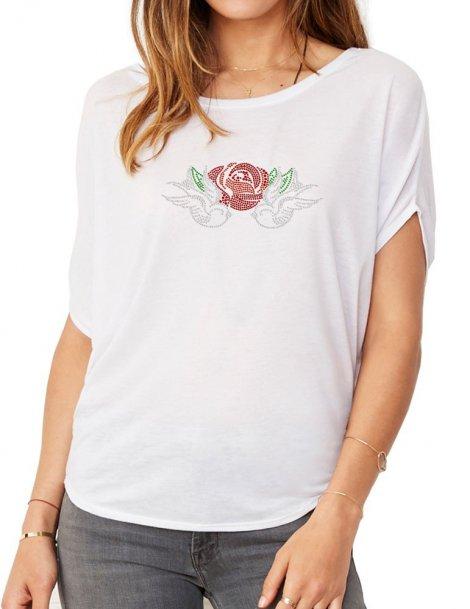 Hirondelles & Rose - T-shirt femme Manches Chauve Souris