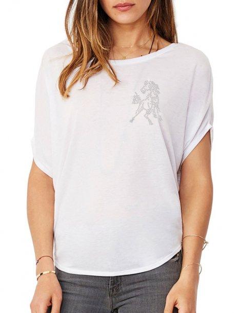 Mini Cheval Strass - T-shirt femme Manches Chauve Souris
