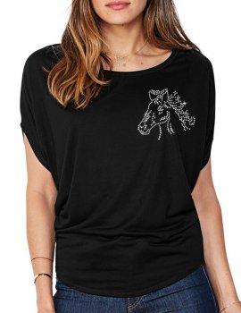 Tête De Cheval - T-shirt femme Manches Chauve Souris