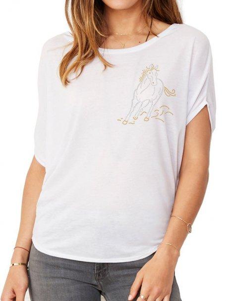 Cheval Au Galop Strass- T-shirt femme Manches Chauve Souris