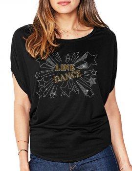 Line Dance Etoiles - T-shirt femme Manches Chauve Souris