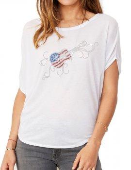 Guitare USA Arabesques - T-shirt femme Manches Chauve Souris