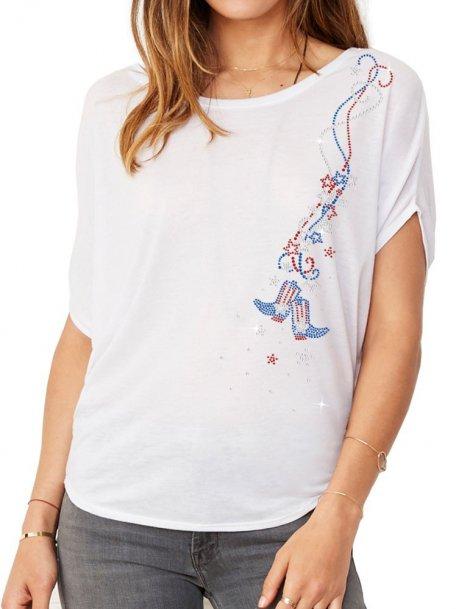 Guirlande USA - T-shirt femme Manches Chauve Souris